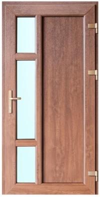 Zelta ozola krāsa, dizains un papildu aprīkojums padara PVC durvis ideāli piemērotas jebkura veida arhitektūrai un interjera dizainam