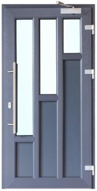 Pelēka krāsa, dizains un papildu aprīkojums padara PVC durvis ideāli piemērotas jebkura veida arhitektūrai un interjera dizainam
